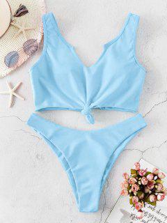 ZAFUL Neon Knotted High Cut Tank Bikini Swimsuit - Light Sky Blue S