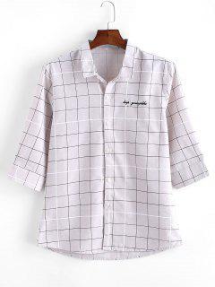 Graph Checks Print Button Up Shirt - Gray Xs