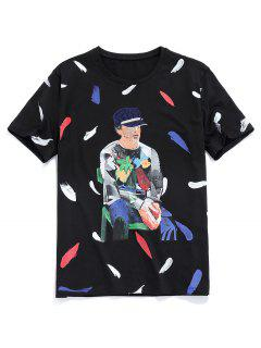Men Painting Graphic Basic T-shirt - Black S