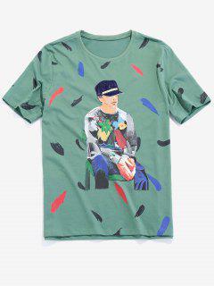 Men Painting Graphic Basic T-shirt - Clover Green Xs