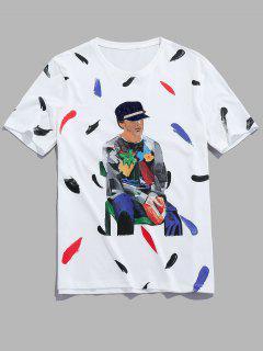 Men Painting Graphic Basic T-shirt - White Xs