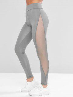 Mesh Panel See Thru Stretchy Gym Leggings - Blue Gray L