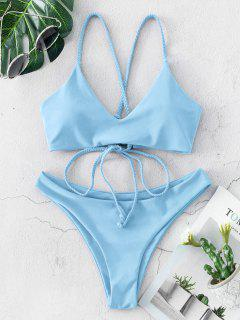 ZAFUL Braided Straps Lace Up Low Waisted Bikini Swimsuit - Day Sky Blue S