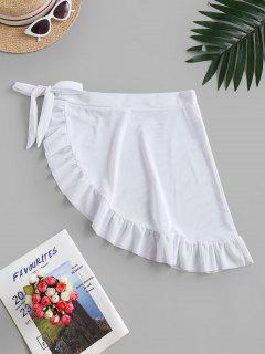 ZAFUL Mesh Sheer Flounce Sarong Cover Up Skirt - White M