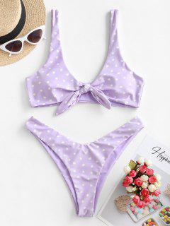 ZAFUL Reversible Tie Front High Cut Valentine Star Heart Bikini Swimwear - Mauve S