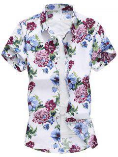 Flower Print Beach Vacation Shirt - White Xl