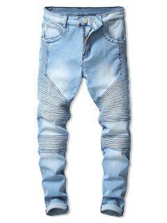 Drape Panel Design Zip Fly Jeans - Jeans Blue M