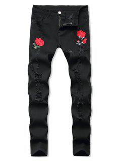 Blumen Bestickte Gerippte Stil Jeans - Schwarz 34