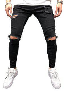 Solid Color Destroyed Zipper Jeans - Black 40