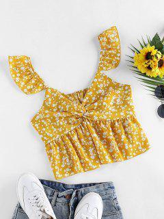 ZAFUL Ditsy Print Twisted Ruffle Peplum Blouse - Yellow Xl