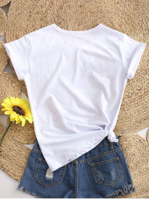 T-shirt de Base Léopard Lèvre Graphique - Blanc S Mobile