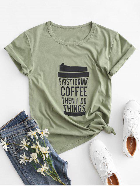 T-shirt Graphique Café de Base - Vert M Mobile