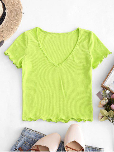 VネックレタストリムクロップドTシャツ - 緑 S Mobile