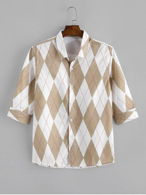 Rhombus Print Button Up Casual Shirt - كاكي XS Mobile
