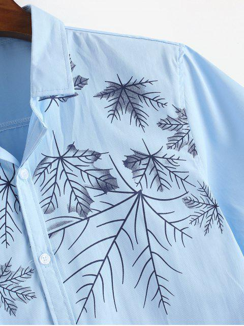 trendy Maple Leaves Print Button Up Shirt - LIGHT BLUE S Mobile