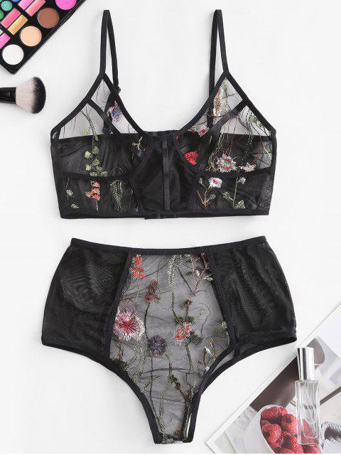 sale Sheer Mesh Floral Embroidered Lingerie Set - BLACK M Mobile