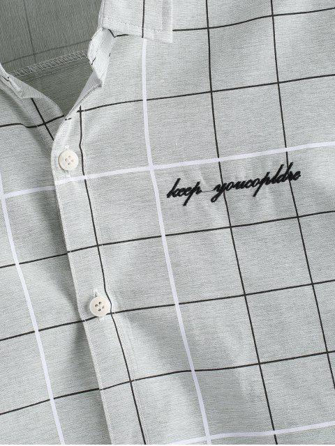best Graph Checks Print Button Up Shirt - LIGHT GREEN S Mobile