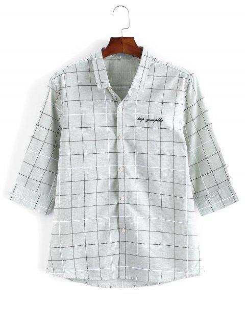 Graph Checks Print Button Up Shirt - اخضر فاتح S Mobile