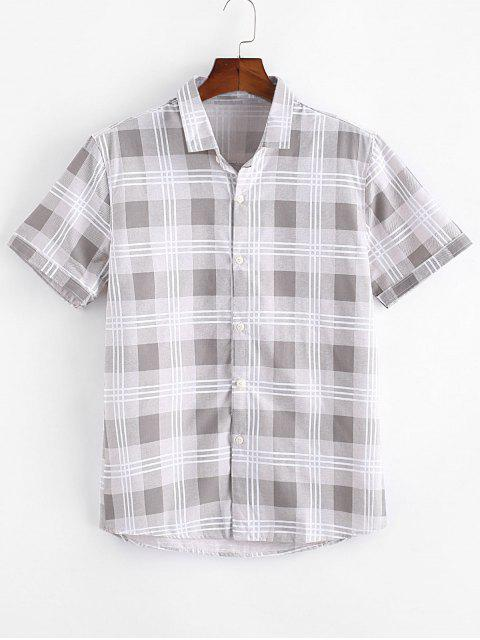 hot Plaid Print Casual Button Up Shirt - KHAKI S Mobile
