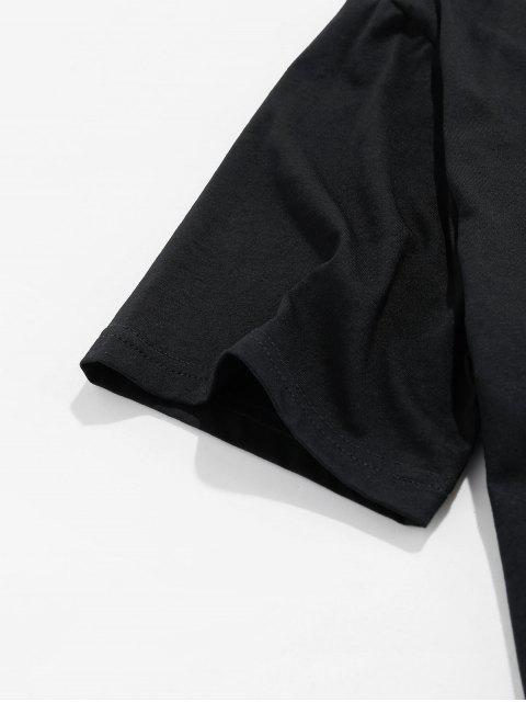 ZAFUL Camiseta Básica con Gráfico de Corazón - Negro M Mobile