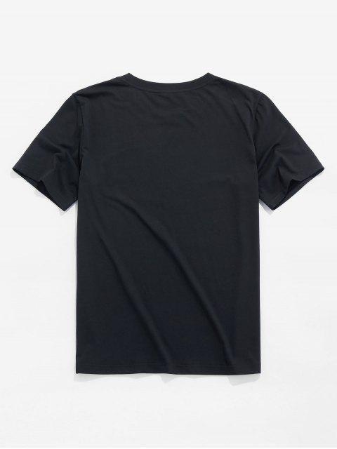 T-Shirt Basic con Grafica di Astronauta di ZAFUL - Nero L Mobile
