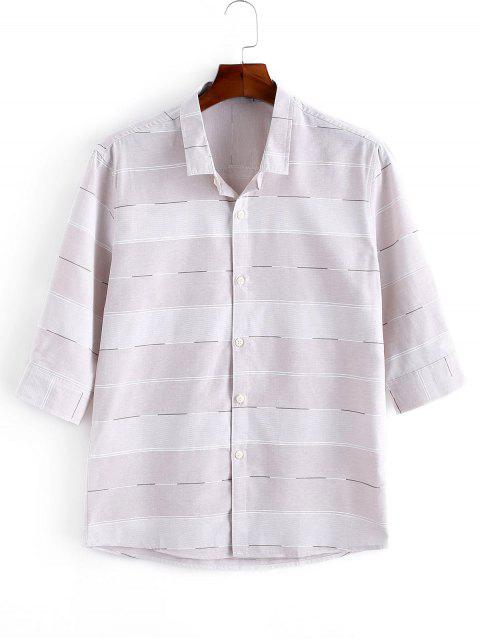 Striped Print Button Up Casual Shirt - زهري S Mobile