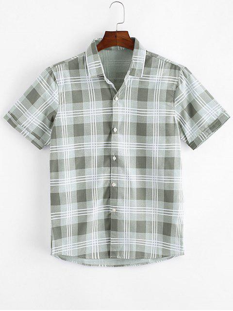 Plaid Print Casual Button Up Shirt - اخضر فاتح XS Mobile