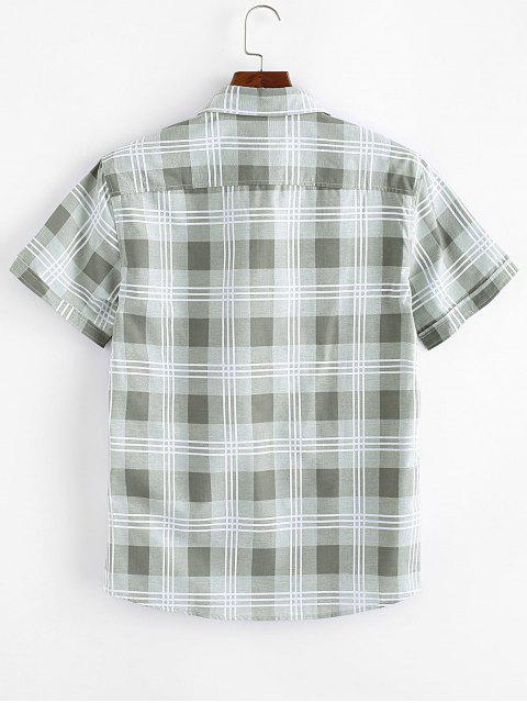 new Plaid Print Casual Button Up Shirt - LIGHT GREEN S Mobile
