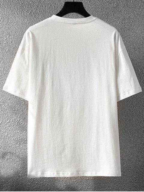 Kurzärmliges T-Shirt mit Slogan Grafikdruck - Weiß 2XL Mobile