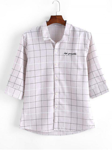 Graph Checks Print Button Up Shirt - اللون الرمادي XS Mobile