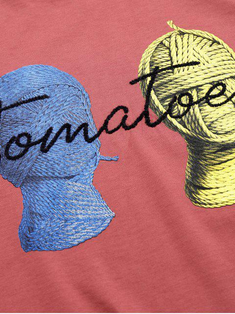 T-Shirt Basic con Grafica di Pomodori - Rosso Valentino XS Mobile
