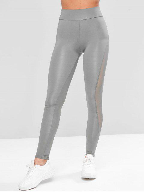 Legging de Gym Extensible Panneau en Maille Transparente - Bleu-gris XL Mobile