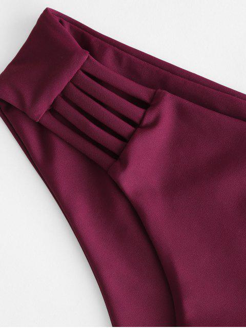 ZAFUL Leiter Hollow Out Bikini Unterteile mit Niedriger Taille - Kastanienbraun S Mobile