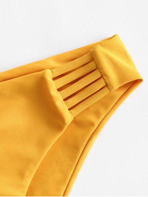 ZAFUL Leiter Hollow Out Bikini Unterteile mit Niedriger Taille - Helles Gelb M Mobile
