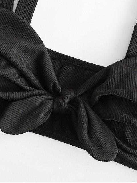 ZAFUL Maillot de Bain Bikini Côtelé Noué à Taille Haute - Noir XL Mobile