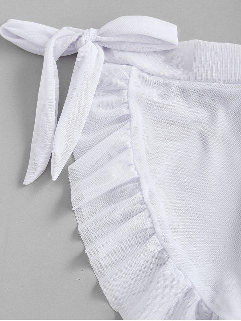 women's ZAFUL Mesh Sheer Flounce Sarong Cover Up Skirt - WHITE S Mobile