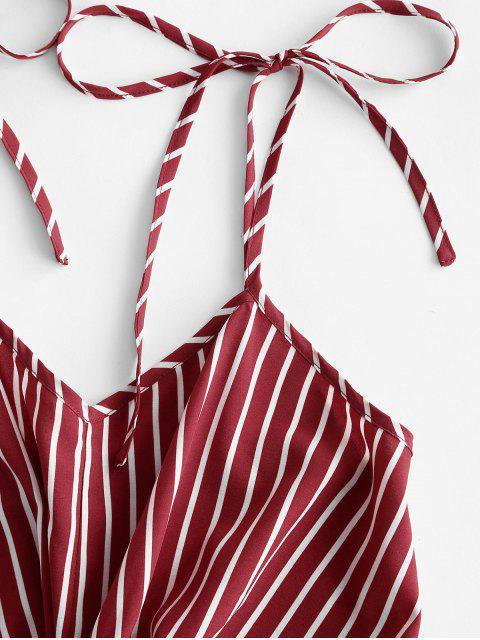 ZAFUL Gebundenes Schulter Streifen Verdrehte Minikleid - Rot L Mobile