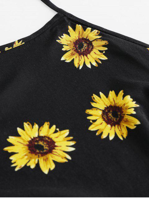 sale ZAFUL Sunflower Tie Back Halter Loose Shorts Set - BLACK S Mobile