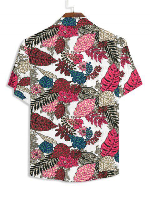 hot Flower Leaf Pattern Short Sleeves Button Shirt - WHITE 3XL Mobile