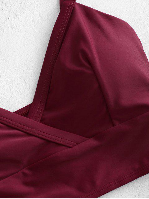 ZAFUL Maillot de Bain Tankini Superposé Fleuri - Rouge Vineux 2XL Mobile