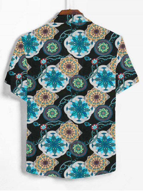 Bohemian Flower Print Button Up Shirt - الفيروز الداكن 2XL Mobile