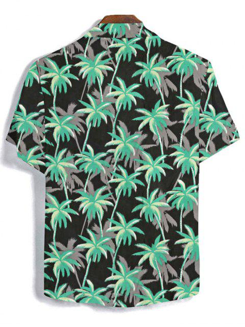 ladies Coconut Tree Pattern Button Short Sleeves Shirt - BLACK 2XL Mobile