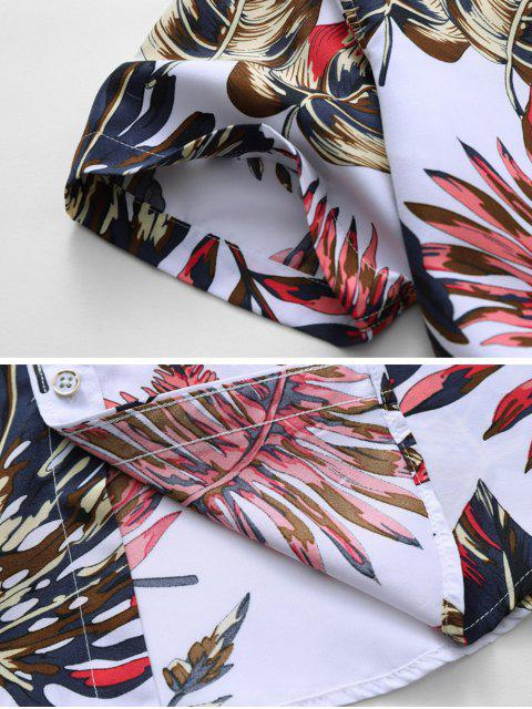 affordable Tropical Leaf Print Vacation Shirt - WHITE 2XL Mobile