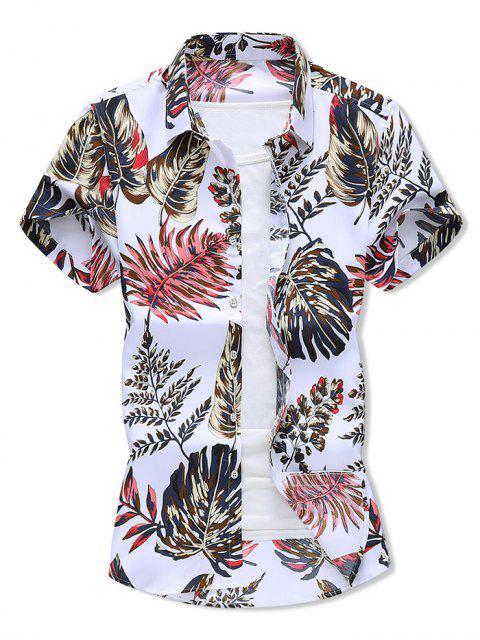 Tropical Leaf Print Vacation Shirt - أبيض 2XL Mobile