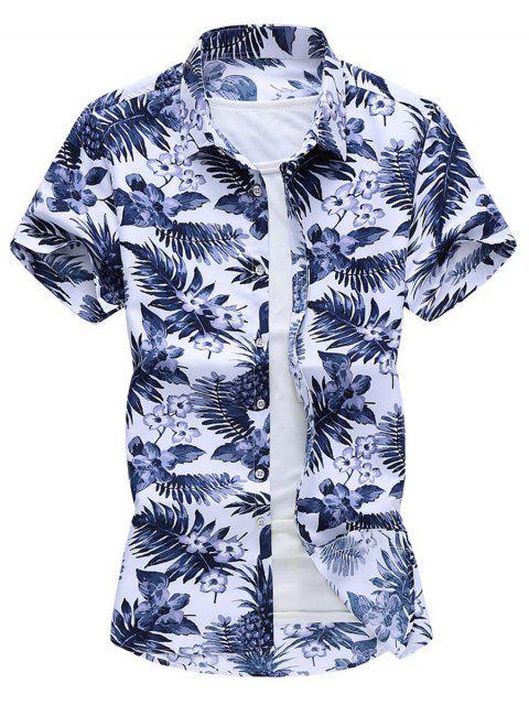 new Tropical Print Curved Hem Beach Shirt - WHITE XL Mobile