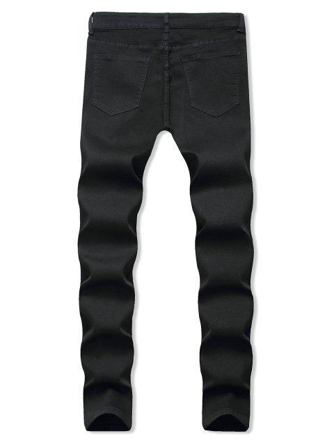 Jeans Rasgados con Diseño Bordado Floral - Negro 32 Mobile