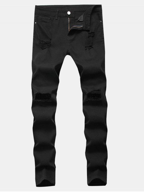 shop Solid Color Destroyed Zipper Jeans - BLACK 32 Mobile