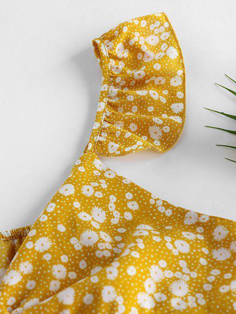 fancy ZAFUL Ditsy Print Twisted Ruffle Peplum Blouse - YELLOW L Mobile