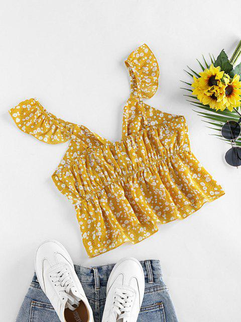 ZAFUL Blusa Peplum com Estampa de Ditsy - Amarelo XL Mobile