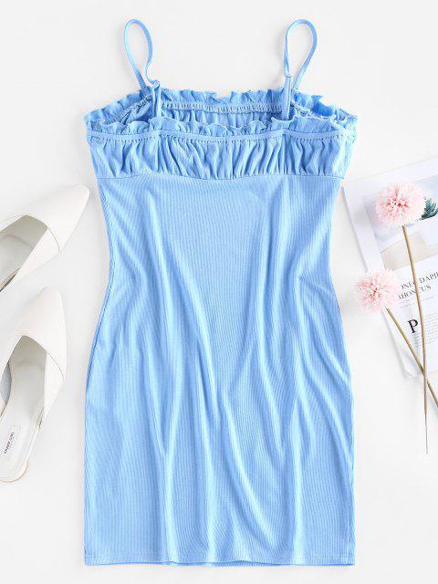 ZAFUL Geripptes Gekräuseltes Milkmaid Camisole Kleid - Kristal Blau M Mobile